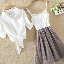 Women Suits Casual Clothing Sets Crop Top Fold Tulle Skirt B