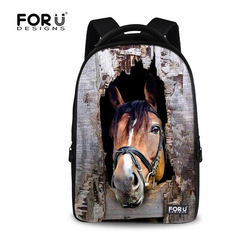 FORUDESIGNS Children School Backpacks Cool Horse Large Capacity Laptop Backpack For Men Student Travel Bagpack Mochila