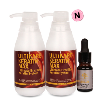 3pcs Best Selling 300ml Ultikare Keratin Straight Hair Treatment Moisturizing Repair Damaged Frizzy Hair+10ml Argan Oil Set arganmidas 10ml argan oil preferential suit 5pcs professional great moroccan nut moisturizing damaged hair treatment products