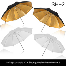 2 pcs 33 inch 83cm Photo Studio Flash Light Reflector Reflective Black Gold Photography Umbrella and soft umbrella