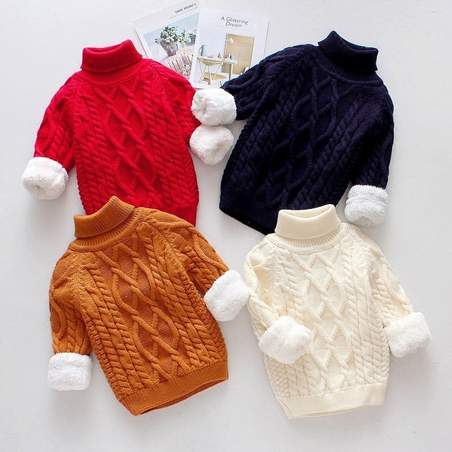 4b9d976060f7 Winter baby boys girls clothes velvet knit Pullover wool sweaters ...