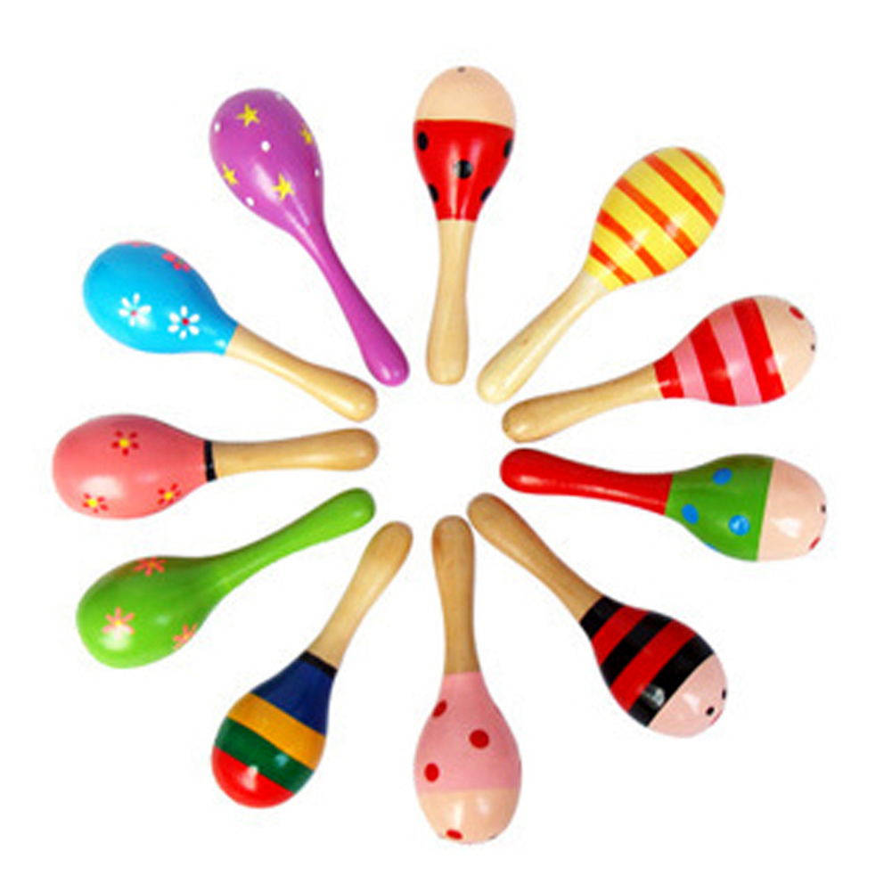 1pcs Baby Wooden Maracas Ball Rattle Musical Toy Sand Hammer Kids Educational