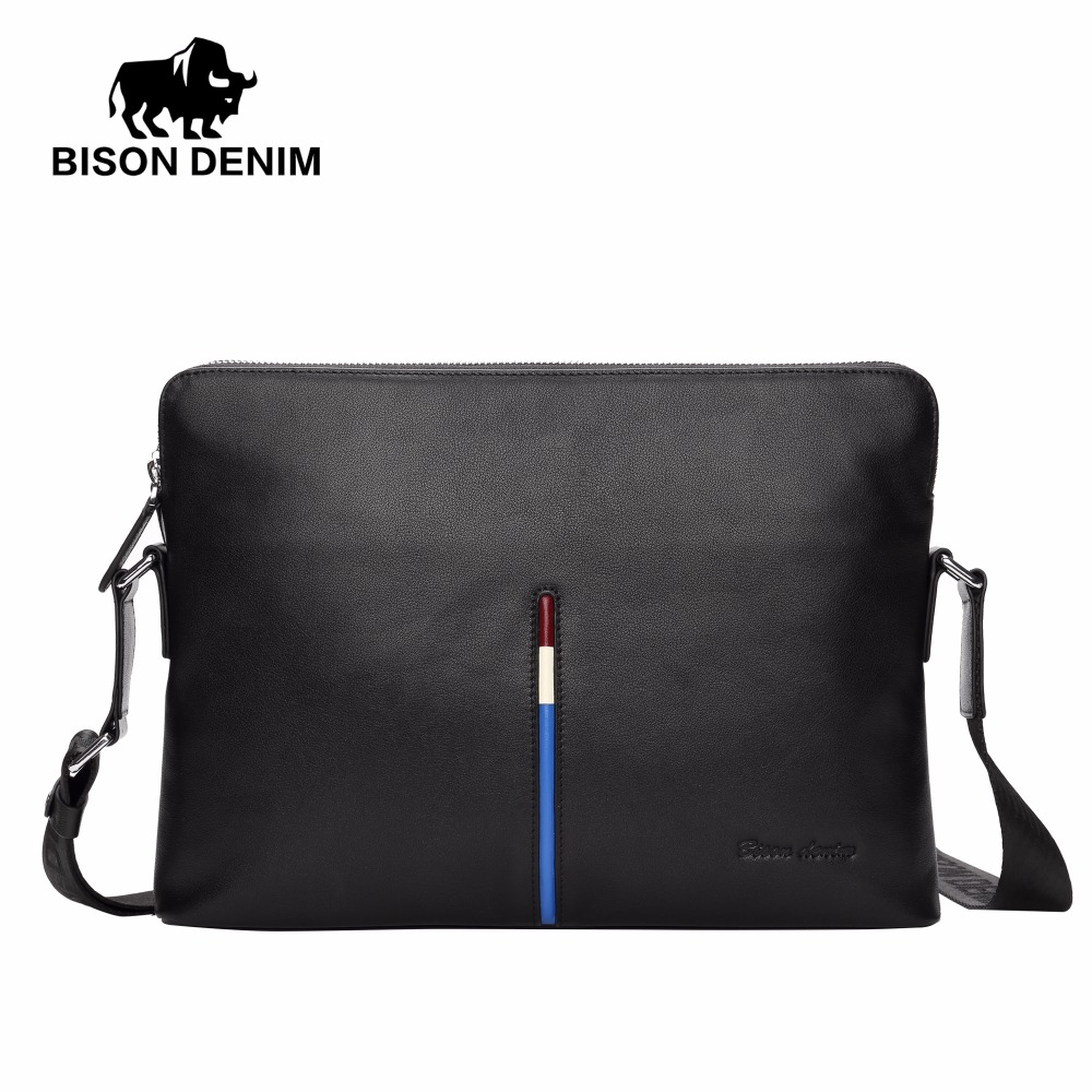 BISON DENIM 100% Genuine Leather Crossbody Bag for Men Business Ipad Messenger Bag Casual Leather Men's Shoulder Bag N2698-2B bison denim genuine leather men s bag business shoulder crossbody bag christmas gift designer handbags high quality n2333 1
