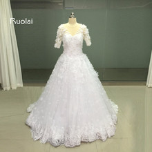 Real Image Scoop Ball Gown Wedding Dresses Turkey Half Sleeves Flower Beaded Tulle Appliques long Bridal Gown Wedding Party FW61