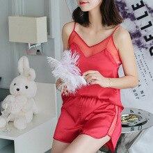 2018 Latest Design Women's Sleepwear Sexy Satin Pajama Set Exquisite Gauze V-Neck Pyjamas Sleeveless Cute Cami Top and Shorts sexy sleeveless design top