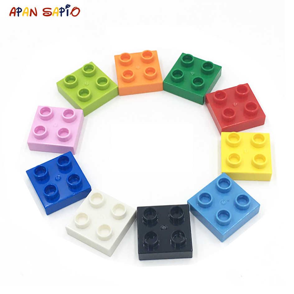 Büyük boy DIY yapı taşları ince rakamlar tuğla 2x2Dot 24 adet eğitici yaratıcı oyuncaklar çocuklar için uyumlu markaları ile