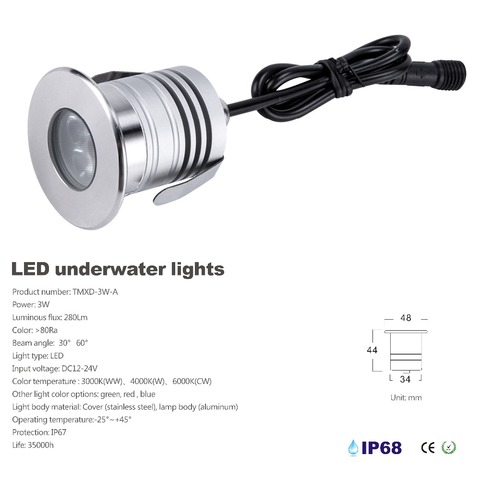 Stainless Steel 12V 24V IP68 LED Underwater Swimming Pool Light Lamp 3W Spa sauna Lake Yard Pond fountain Lighting BulbS Lahore