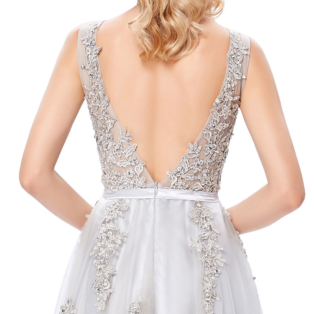 Grace Karin Tulle Appliques Celebrity Prom Dress Sexy V Back Sleeveless Long Royal Blue Robes De Soiree 2017 Longue Prom Dresses 26