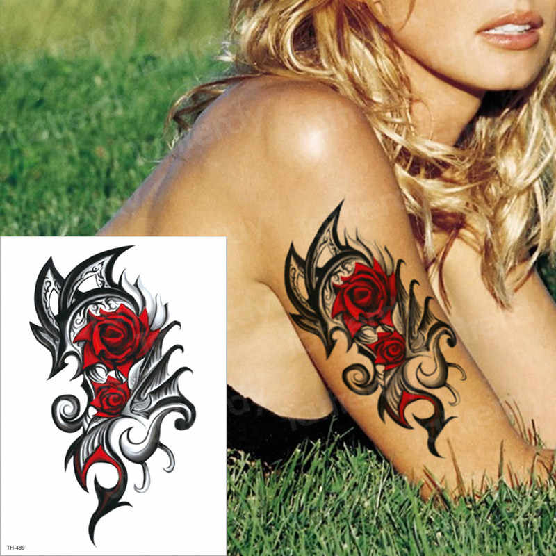 1963a1216 ... temporary tattoos rose girl tattoo body thigh leg tattoo sexy summer  tatoo big water transfer tatto