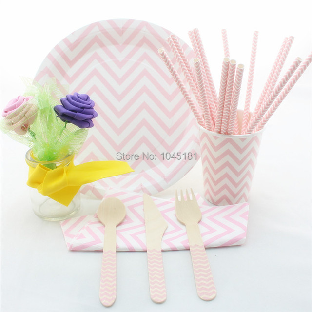 Pink Chevron Party Tableware Sets Wedding Christmas Party Decor Pink ...