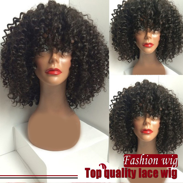 Hot sale Glueless lace front wig Heat Resistant Natural Black wig big Curly Synthetic Lace Front wig lace wig for black women