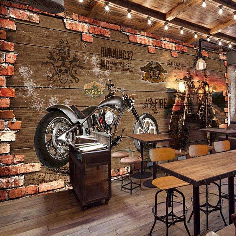 Personalizado personalização retro motocicleta tijolo papel de parede restaurante café criativo decoração 3d em relevo mural 3 d