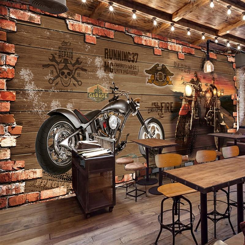 Personalized Customization Retro Motorcycle Brick Wallpaper Restaurant Cafe Creative Decor 3D Embossed Mural Papel De Parede 3 D