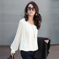 2014 New Fashion Women Blouse Sexy Chiffon Blouses Puff Long Sleeve Lace Shirts Loose O Neck