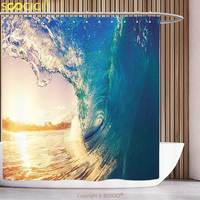 Waterproof Shower Curtain Ocean Decor Ocean Wave At Sunrise Reflection On Surface Tropical Trees Shoreline Summertime Picture