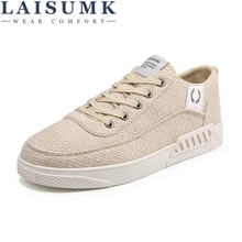 LAISUMK Mens Canvas Shoes Hemp Flats Casual Spring / Summer Fashion Breathable Loafers Lace-up Fishman