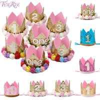 Sombrero de princesa Crown de FENGRISE, sombreros para fiesta de feliz cumpleaños, decoración de un cumpleaños, primer 2 ° aniversario, accesorio para el cabello de niños