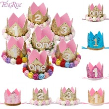 Happy First Birthday Party Hats Decor Cap One Birthday Hat Princess Crown 1st 2nd 3th Year Old Number Baby Kids Hair Accessory