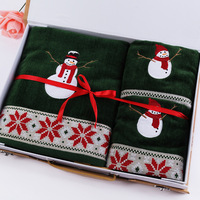 3pcs Lot Towel Set Christmas Tree Embroidery 100 Cotton Face Cloth Bath Towels Wholesale Terry For
