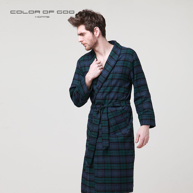 5266cf3bd5 Autumn 100% Cotton Men s Bath Robe Long-sleeve Kimono Pajamas For Men  Bathrobe Male Spa Night Dress Gown Hombre Sleepwear