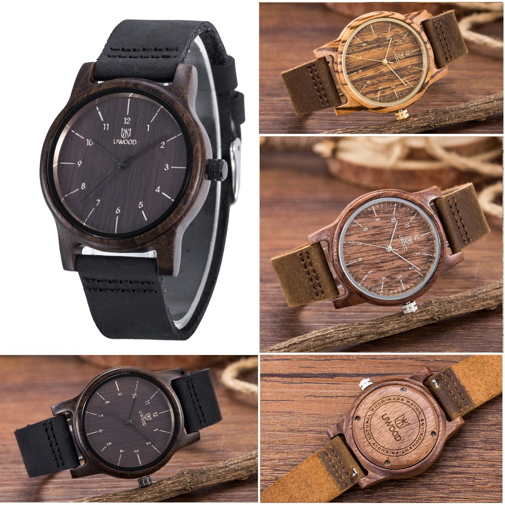 New Arrival Black sandal Wood Mens Fashion Brand Bamboo Wooden Watches Leather Analog Quartz Wrist Watch For Unique Gifts fashion men bamboo wood quartz analog watch with genuine leather for men nature zebra stripe unique watch relogio clock gifts