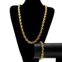 10 MM breite Singapur Twist Kette Halskette & Armband Set Männer Gelbes Gold Füllte Coole Hip Hop Schmuck-Set