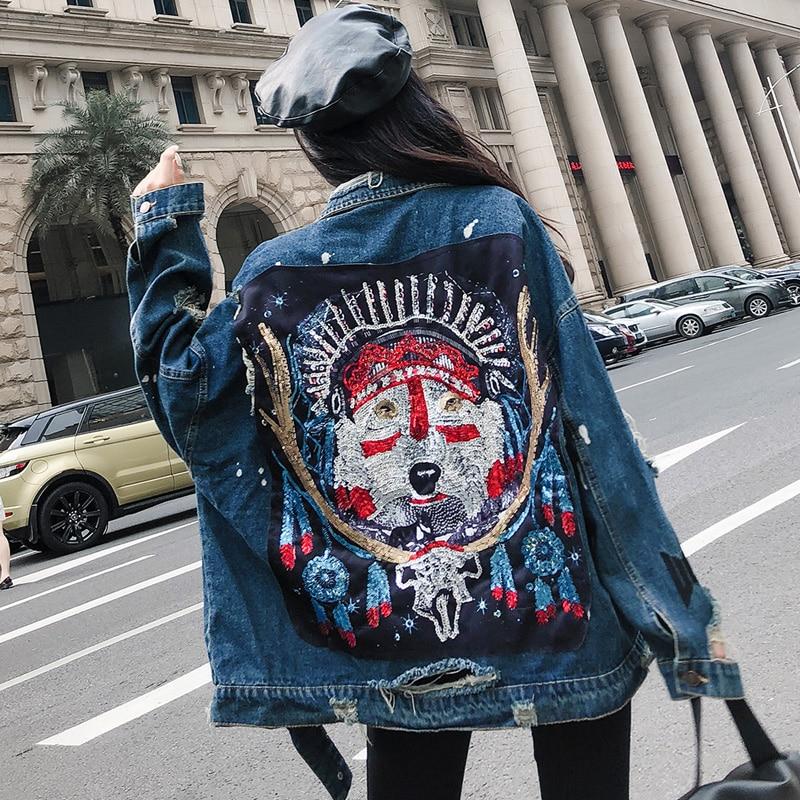 Manteaux Femmes Style Printemps Sequin De Mode Patch Veste Arrivée Déchiré Longues Nouvelle Trou 2019 Denim Rue Manches Blue Base Jean À Bf 7Sxw4wq