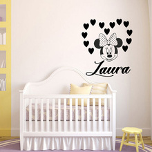 Minnie Mouse Vinyl Wall Sticker For Kids Room Decoration Custom Girl Name Wall Decals On Wall Nursery Bedroom Decor Poster ZX546 princess cartoon custom name girsl bedroom decoration beauty girls with name wall sticker interior nursery ornament sticker w266