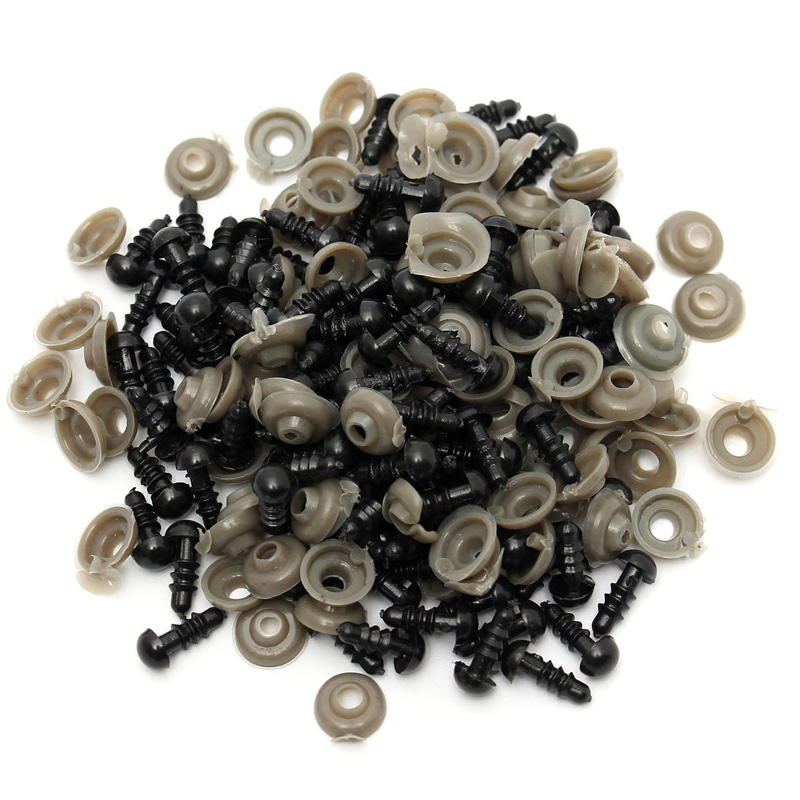 100PCS/LOT Black Toy Eyes Safety 6MM 8MM 10MM 12MM Plastic Doll Eyes For Stuffed Toys