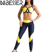 NIBESSER 2017 New Yellow Sportswear Tracksuit Sportwomen Breathable High Elastic 2pcs Sets Push Up Bra Tank