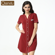 Summer Fashion Lounge Shirt Nightdress Female Modal Cotton Sexy Sleepshirts Homewear Women Casual Short Sleeve Nightgowns