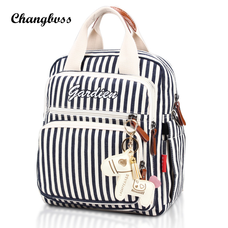 White&Black Striped School Bags For Girls Teenage Schoolbag Backpack Canvas Zipper High-Capacity Mommy Bags With Thermal Pocket