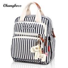 Белый и черный полосатый Школьные ранцы для девочек-подростков школьный рюкзак холст молнии высокого Ёмкость мама Сумки с Термальность карман