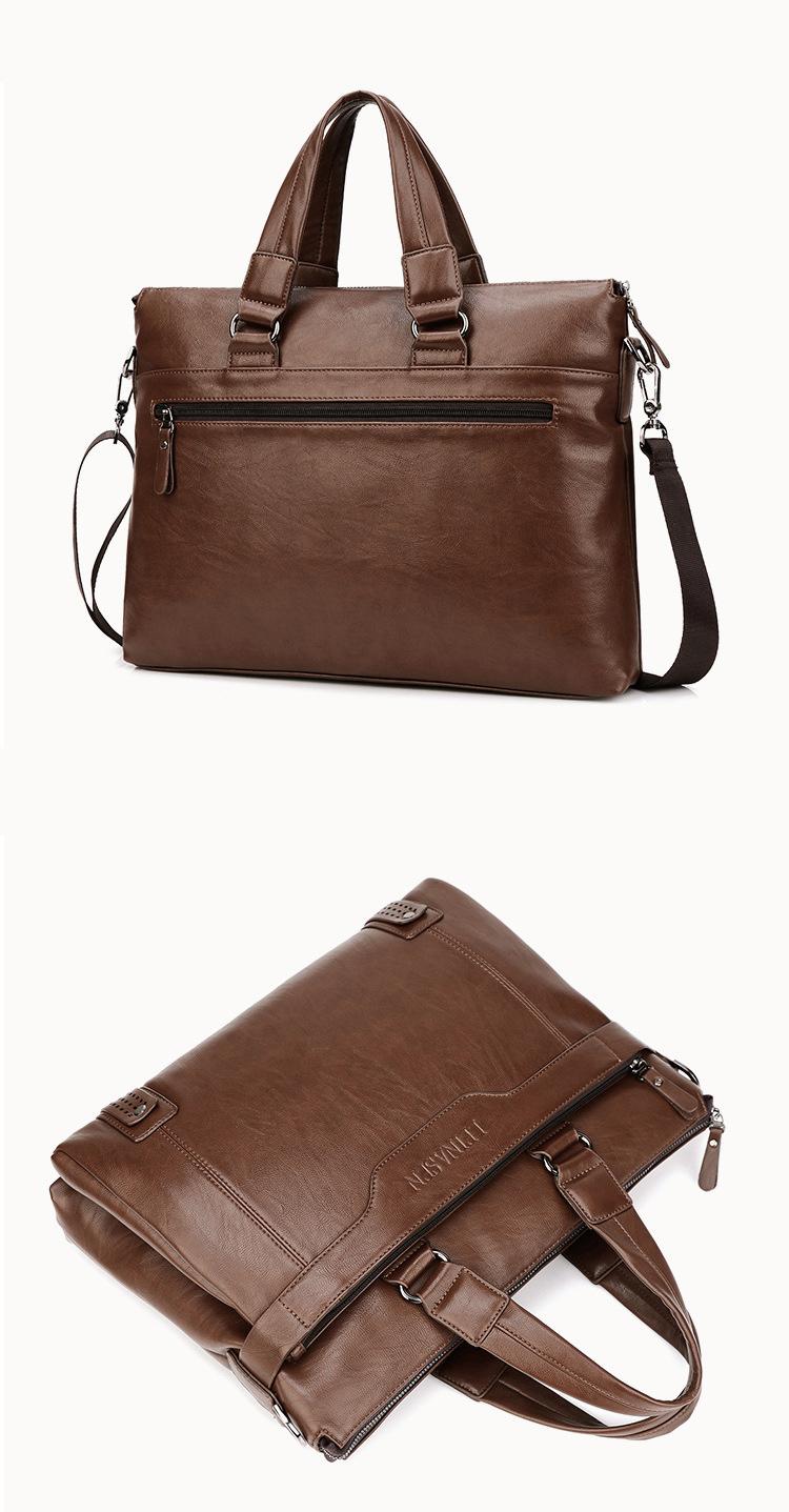 LEINASEN Brand Men Handbags Fashion Business Men Briefcase Bag pu Leather  Laptop Bag Casual Zipper Design Man handbag with belt 31999c450dcde