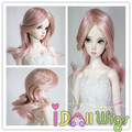 High temperature smoke pink big curly doll wig for 1/3 1/4 1/6 BJD Dolls