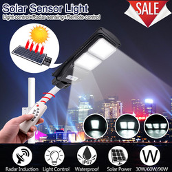 30/60/90W LED Solar Street Light Home Garden Solar LED Lights Outdoor Solar Lamp PIR Motion Sensor Wall Timing Lamp+Remote Lamps