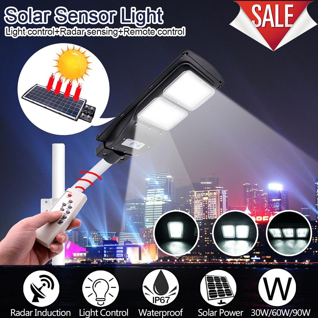 30/60/90W lampadaire solaire LED maison jardin lampes LED solaires lampe solaire extérieure PIR capteur de mouvement lampe de distribution murale + lampes à distance