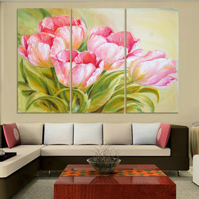 Luxury Hot Sell Modern oil Painting Tulip Flowers Home Wall Art ...