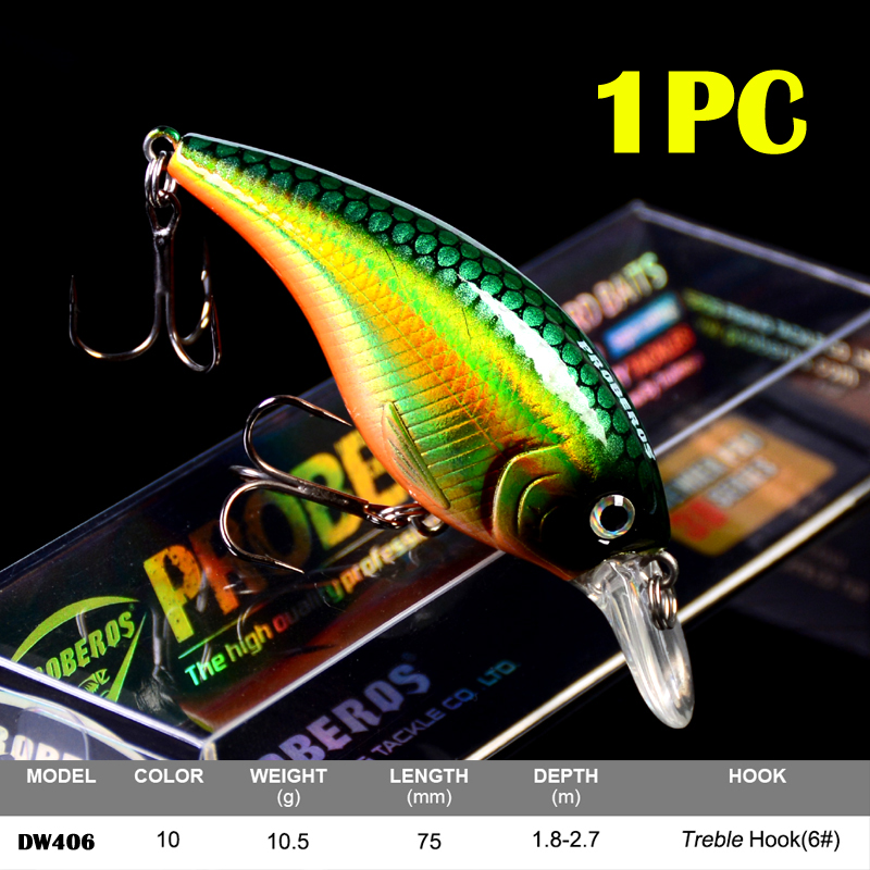 1PC Crankbait Fishing Lure Exported to Japan 7.5cm 10g Topwater Fat Crank Bait 3D Eyes Slow Wobbler Carp Fake Lure Tackle