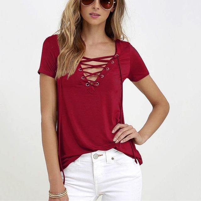 Women Short Sleeve Lace Up Tops T Shirt