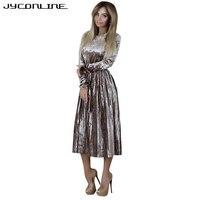 JYConline Vintage Velvet Winter Dress Long Sleeve Elegant Pleated Dress Women Lady Party Dresses Vestidos Empire