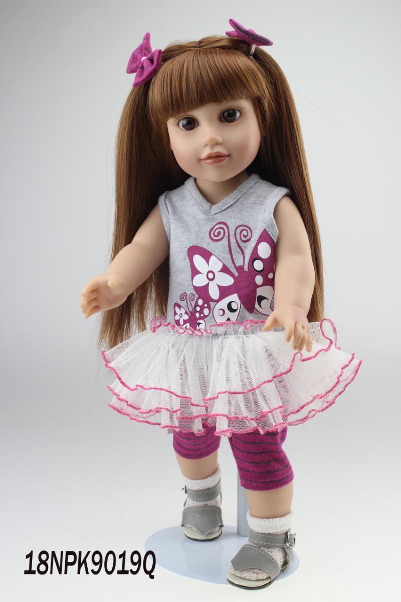 ФОТО AMERICAN PRINCESS 18'' 45CM  girl doll  long brown hair full handmade newborn baby boneca  toys for girls