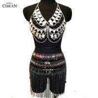 Chran Fringe Skirt Bra Set EDM Belly Dancer Belt Chain Necklace Rave Bra Bralete Festival Dress Burning Man Wear Ibiza Jewelry