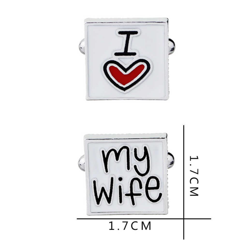 Stile francese Degli Uomini di I Love My Wife Dello Smalto Piazza Shirt Suit Gemelli di Cerimonia Nuziale di Modo Lettere di Stampa Manetta Collegamento di Polsino