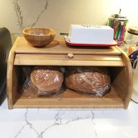 2019 40X27X17CM Wholesale Natural Bamboo Bread Holder Food Storage Container Kitchen Roll Top Bread Storage Box Kitchens Supply