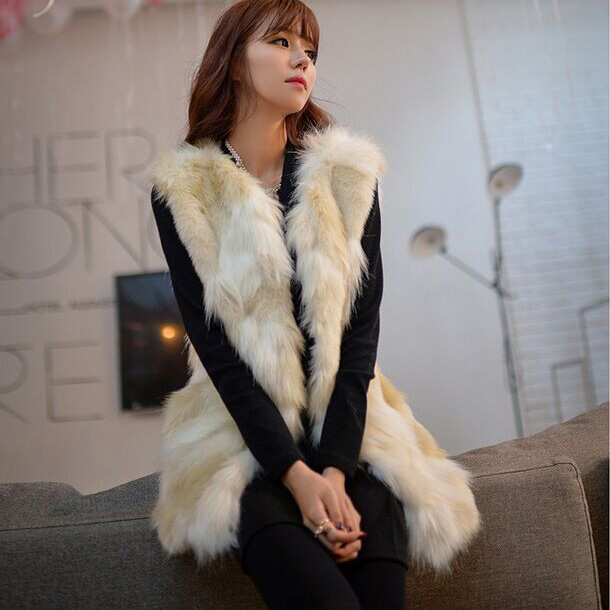 2017 Autumn Winter Warm Sleeveless Women White Faux Fur Coats Long Female Waistcoat -5445