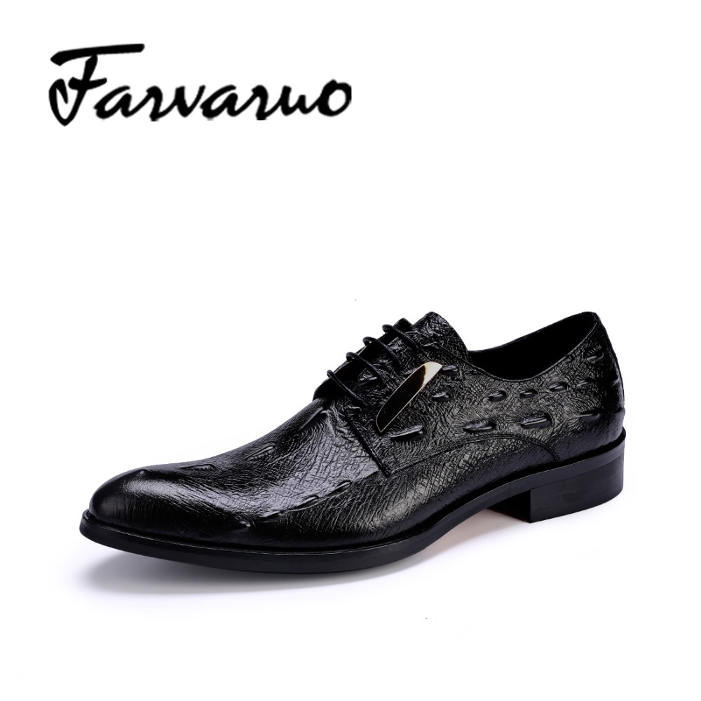 Farvarwo Men Oxfords Formal Shoes British Style Lace-Up Casual Flats Genuine Leather Pointed Toe Dress Crocodile Shoes Black Men new brand designer formal men dress shoes lace up business party oxfords shoes for men pointed toe brogues men s flats plus size