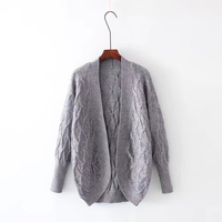 Autumn Women Criss Cross Knitted Open Stitch Sweater Women Solid Knitted Batwing Cardigans