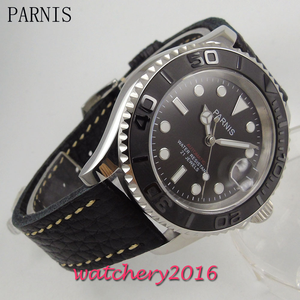 все цены на 41mm Parnis black dial ceramic bezel white markers sapphire glass date adjust 21 jewels miyota Automatic movement Men's Watch онлайн