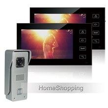 Buy New Wired 7″ TFT Color Video Door Phone Intercom Kit + 2 Touch Sensor Monitors + 700TVL Waterproof Doorbell Camera FREE SHIPPING